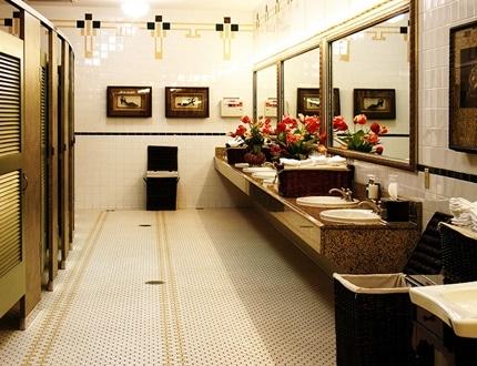 Clean and elegant looking restroom