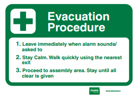 evacuation procedure message poster