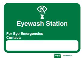 eyewash station emergency contact name tag