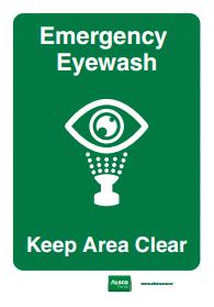 keep area clear eyewash emergency reminder poster