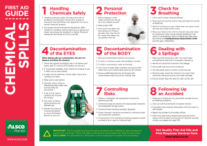 Alsco chemical spills First Aid guide