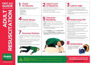 Alsco adult resuscitation First Aid guide