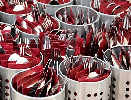 Metal cutlery inside a cutlery container