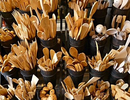 Wooden cutlery is another option for reusable cutlery