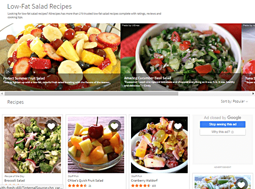 Different kinds of salads