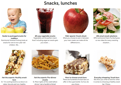 Healthy snacks to choose from