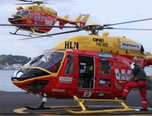 A Westpac Rescue Helicopter on land