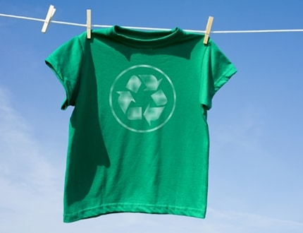 Green shirt with recycle logo at the center
