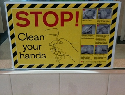 Clean your hands instruction