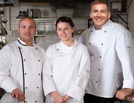 Three chefs with white uniform