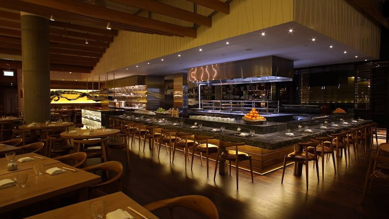 fancy restaurant with deem light