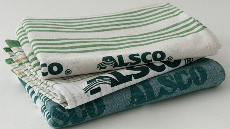 different colour and design of Alsco tea towels
