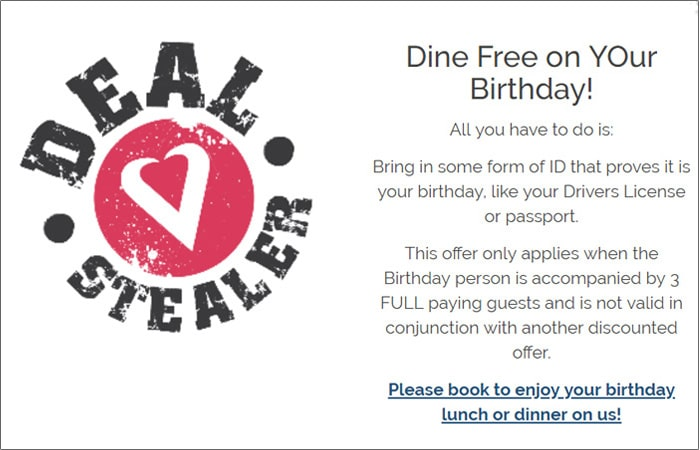 dine for free on your birthday ads