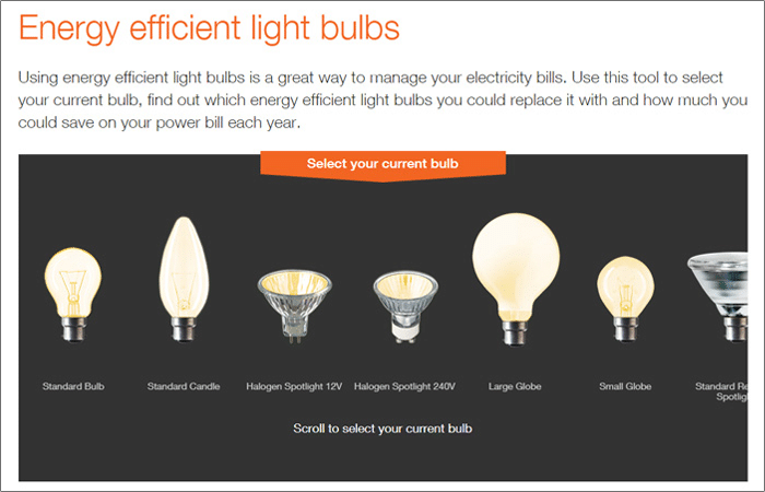 photo of different types of energy efficient light bulbs