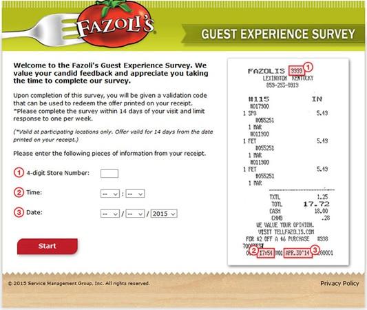 Fazolis guest experience survey form