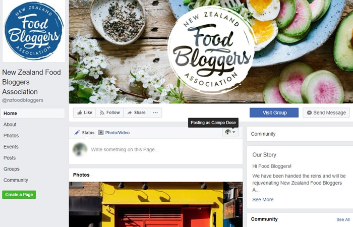 New Zealand food bloggers association Facebook page