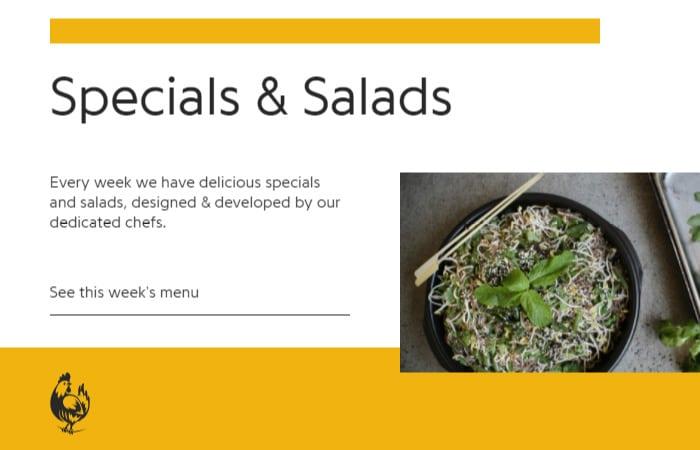 special and salads menu