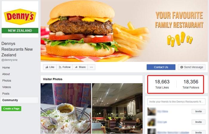 Dennys Restaurants New Zealand Facebook page