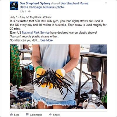 Sea Shepherd Sydney help the environment Facebook post