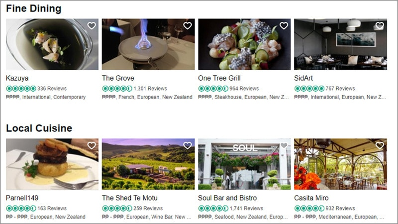 screenshot of fine dining restaurants in different places
