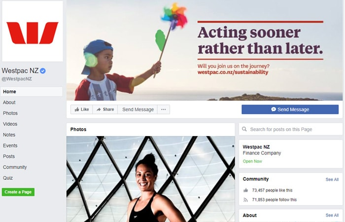 Westpac NZ Facebook page