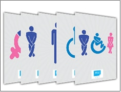 bathroom icons and signage