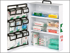 white first aid kit with supplies