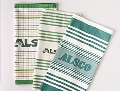 different colour and design of Alsco Tea Towel