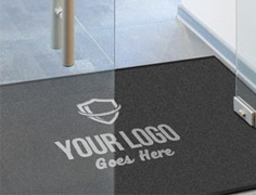 customised black welcome mat