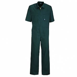Industrial Spruce Green Polycotton Zip Cverall Short Sleeve