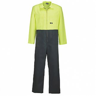 Industrial Two Tone Polycotton Overall Yellow Green