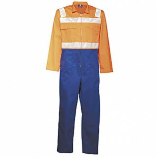 Industrial Two Tone Polycotton with Tape Orange Royal Blue