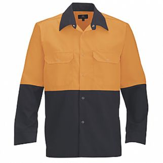 Industrial Two Tone Polycotton Work Shirt Orange Navy Long Sleeve