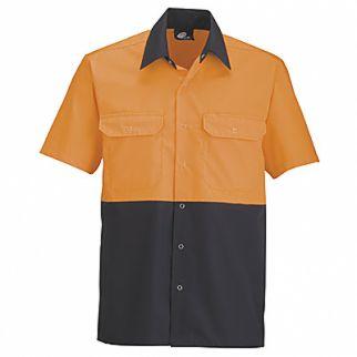 Industrial Two Tone Polycotton Work Shirt Orange Navy Long Sleeve