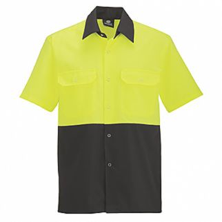Industrial Two Tone Polycotton Work Shirt Yellow Navy Short Sleeve