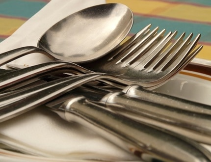 Clean metal spoon and fork