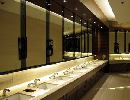 A clean and elegant washroom