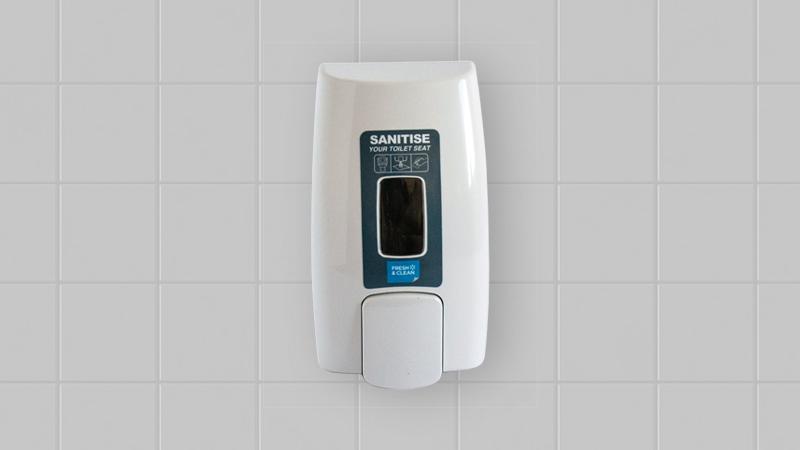 white sanitiser dispenser