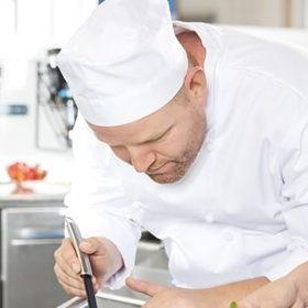 Chef in white head wear