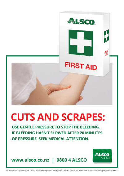 First Aid poster for cuts and scrapes