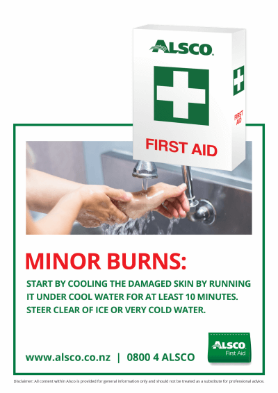 First Aid response poster for minor burns