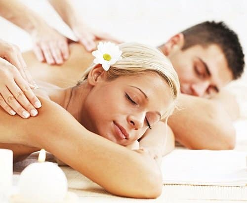Couple having a massage in a spa