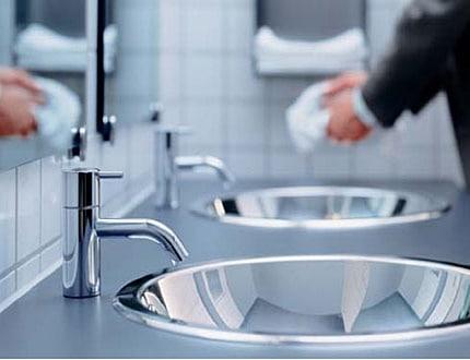 Clean washroom sink