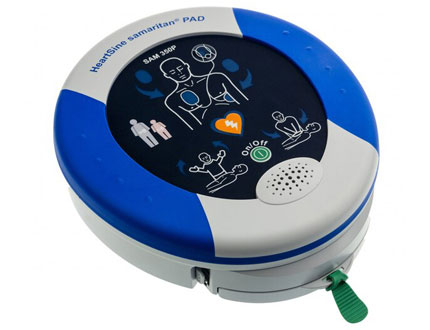 white and blue AED emergency treatment