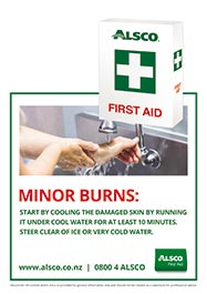 Minor burns first aid poster