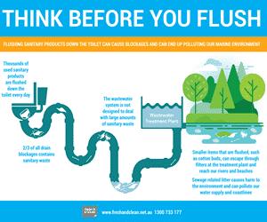 think before you flush illustration