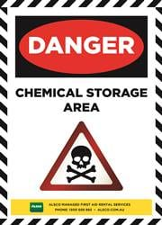 chemical storage area safety reminder poster