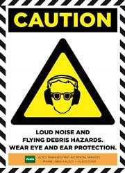 LOUD NOISE AND FLYING DEBRIS HAZARDS. WEAREYE AND EAR PROTECTION.