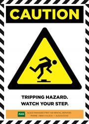 TRIPPING HAZARD.WATCH YOUR STEP.