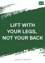 lifting safety reminder poster